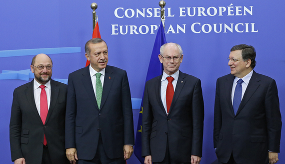 Turkey's Prime Minister Erdogan poses for a family photo with EU Parliament Schulz, EU Council President Van Rompuy and EC President Barroso in Brussels