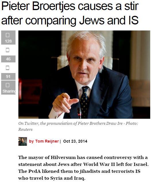 dutch mayor compares jews to jihadi IS terrorists