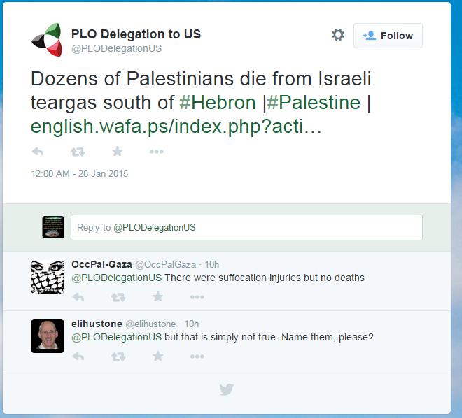 plo delegation to us tweet bogus deaths claim