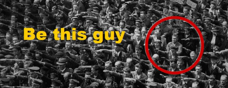 lone guy in sea of nazis