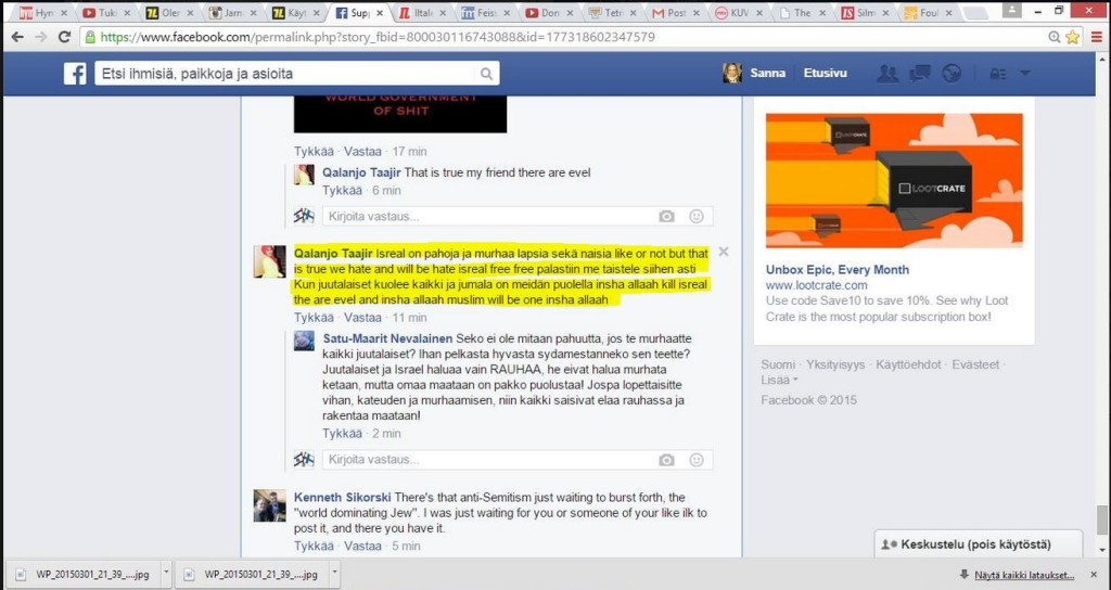 death threats on Finnish FB pro-Israel page  2.3.2015
