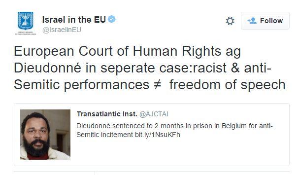 israel in EU dieuddone 2 mos in pris