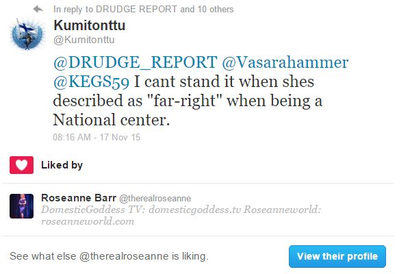 roseanne barr liked kumitonttu's tweet