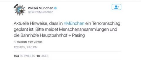 GERMANY POLICE ISSUE TERROR THREAT VIA TWITTER