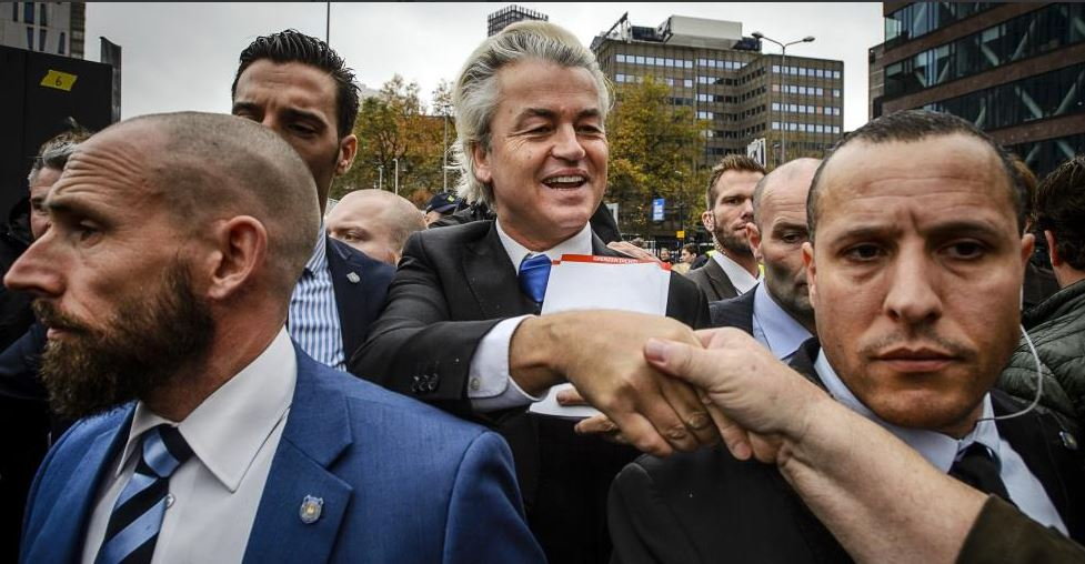 geert wilders presses the flesh