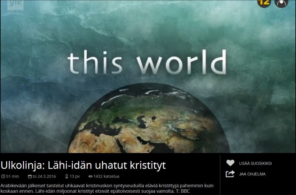 BBC this world censored by YLE on Finnish TV