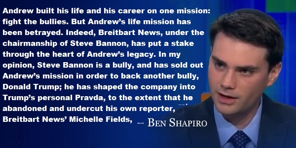 BEN SHAPIRO LEAVES BREITBART