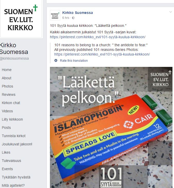 Finnish Lutheran church apes islamophobia meme