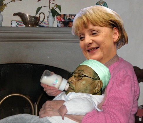merkel HAPPY feeding QARADAWI