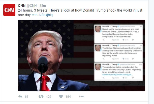 "CNN TWEETS THE THREE TRUMP TWEETS THAT ""SHOOK THE WORLD IN"