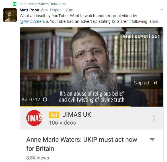 Youtube Pimps Islamo Propaganda Ad With Anne Marie Waters Yt Video