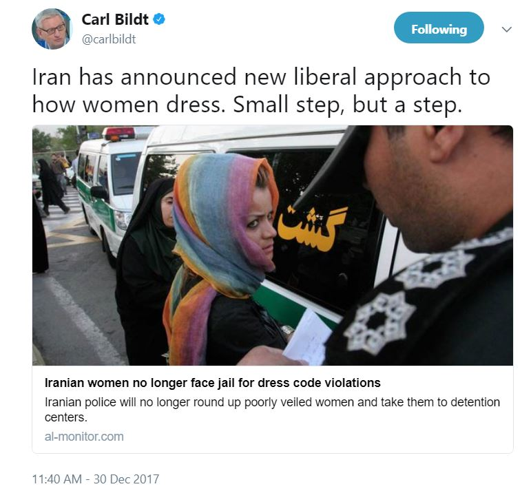 Swedish laughing stock Carl Bildt sees Iran\'s more liberal approach ...