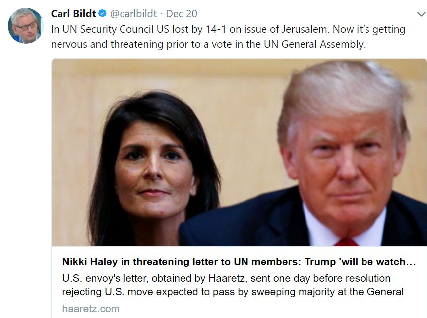 Sweden\'s Carl Bildt tries slamming Nikki Haley on Twitter over ...
